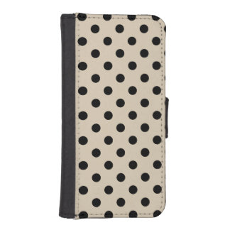 Black Polka Dot Pattern - Tan iPhone SE/5/5s Wallet Case