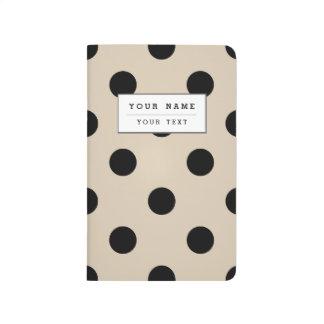 Black Polka Dot Pattern - Tan Journal