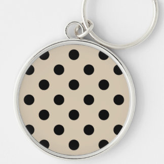 Black Polka Dot Pattern - Tan Key Ring