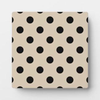 Black Polka Dot Pattern - Tan Plaque