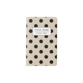 Black Polka Dot Pattern - Tan Pocket Moleskine Notebook