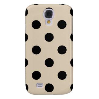 Black Polka Dot Pattern - Tan Samsung Galaxy S4 Cases