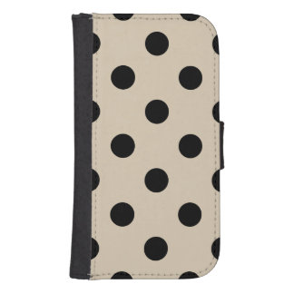 Black Polka Dot Pattern - Tan Samsung S4 Wallet Case