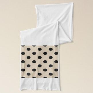 Black Polka Dot Pattern - Tan Scarf