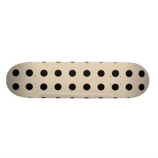 Black Polka Dot Pattern - Tan Skate Boards