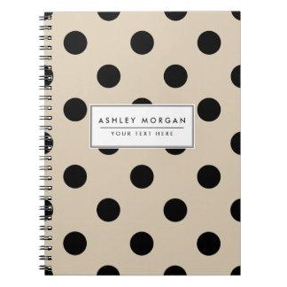 Black Polka Dot Pattern - Tan Spiral Notebook