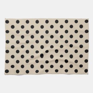 Black Polka Dot Pattern - Tan Tea Towel
