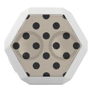 Black Polka Dot Pattern - Tan White Bluetooth Speaker
