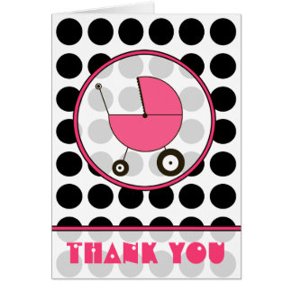 Black Polka Dot / Pink Baby Carriage Thank You Card