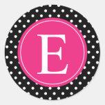 Black Polka Dot Pink Monogram Round Sticker