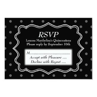 Black Polka Dot Quinceanera 9 Cm X 13 Cm Invitation Card