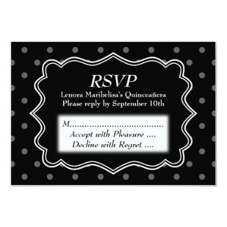 "Black Polka Dot Quinceanera 3.5"" X 5"" Invitation Card"