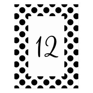 Black Polka Dot Table Number Postcard