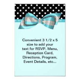 Black Polka Dot Teal Blue RSVP Template Card