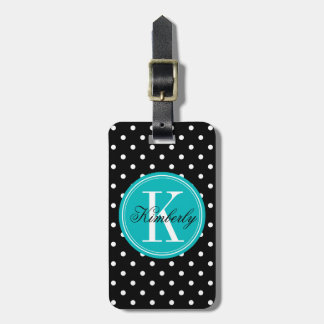 Black Polka Dot with Teal Monogram Luggage Tag