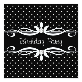 Black Polka Dot Womans Birthday Party Card