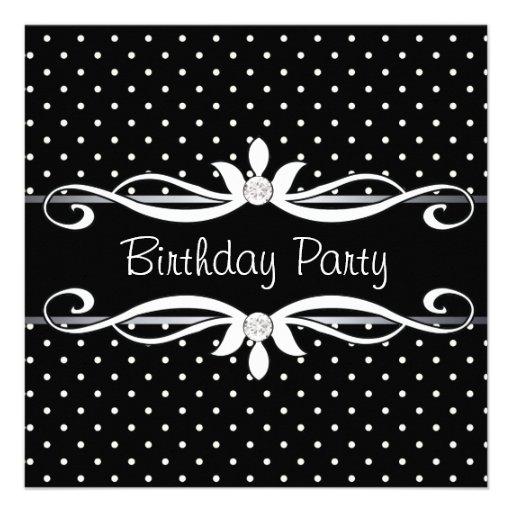 Black Polka Dot Womans Birthday Party Invitations