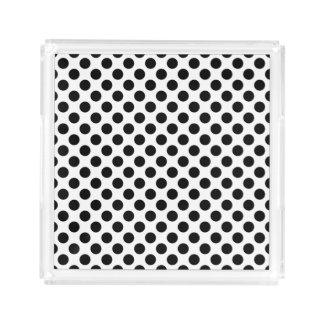 Black Polka Dots Acrylic Tray