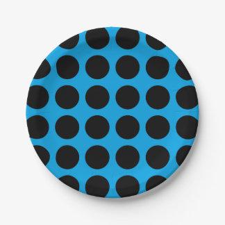 Black Polka Dots Blue Paper Plate