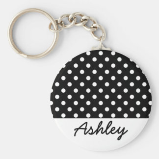 Black Polka Dots Custom Monogram Basic Round Button Key Ring