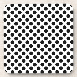 Black Polka Dots Drink Coasters
