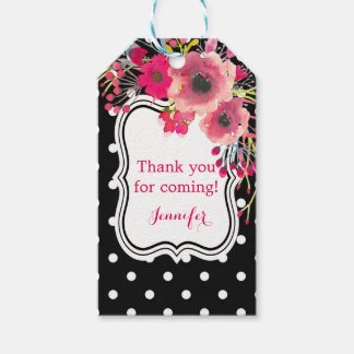Black polka dots flowers glamour fashion modern gift tags