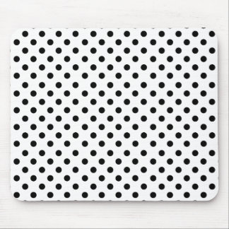 Black polka dots in white mouse pad