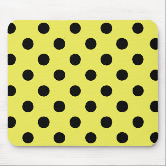 Black polka dots in yellow mouse pad