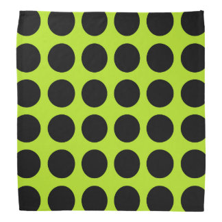 Black Polka Dots Lime Green Bandana