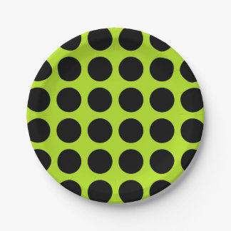 Black Polka Dots Lime Green Paper Plate