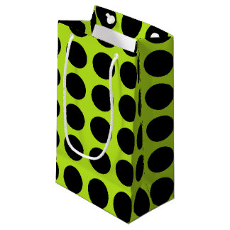 Black Polka Dots Lime Green Small Gift Bag