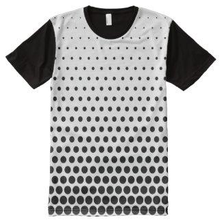 Black Polka Dots Modern White All-Over Print T-Shirt