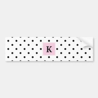 Black Polka Dots Monogram Bumper Sticker