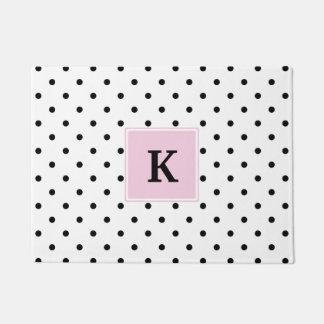 Black Polka Dots Monogram Doormat