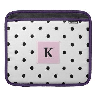 Black Polka Dots Monogram iPad Sleeve