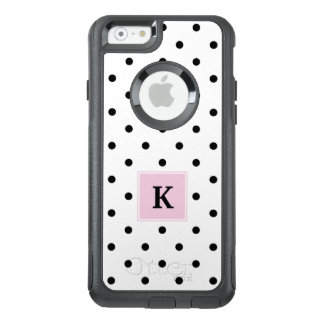 Black Polka Dots Monogram OtterBox iPhone 6/6s Case