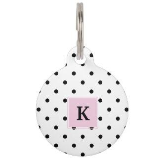 Black Polka Dots Monogram Pet Nametags