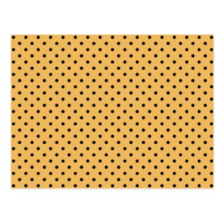 Black Polka Dots On Beeswax Tangerine Background Postcard