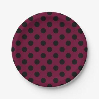 Black polka dots on burgundy 7 inch paper plate