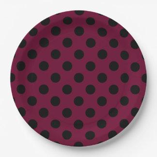 Black polka dots on burgundy 9 inch paper plate
