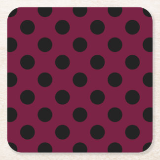 Black polka dots on burgundy square paper coaster