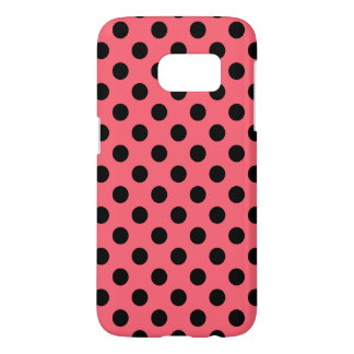 Black polka dots on coral