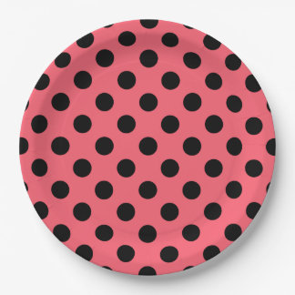 Black polka dots on coral paper plate