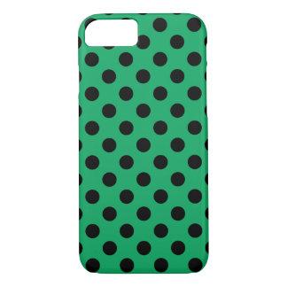 Black polka dots on fresh green iPhone 7 case