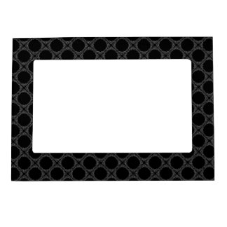 Black Polka Dots On Gray Retro Pattern Magnetic Picture Frame