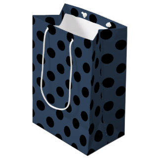 Black polka dots on grey-blue medium gift bag