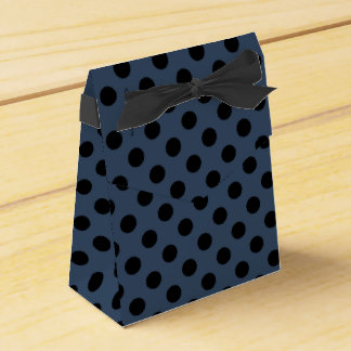 Black polka dots on grey-blue party favour boxes