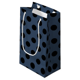 Black polka dots on grey-blue small gift bag