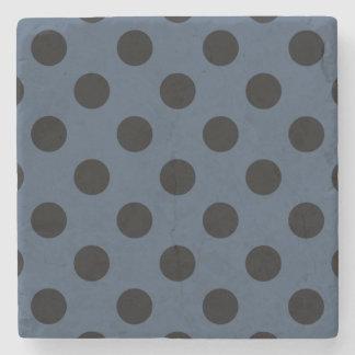 Black polka dots on grey-blue stone coaster