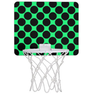 Black Polka Dots On Kiwi Green Mini Basketball Hoop